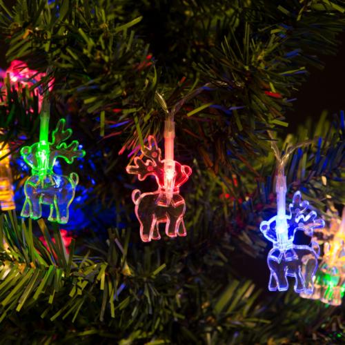Rénszarvas beltéri, elemes, LED-es fényfüzér (2 m, színes)