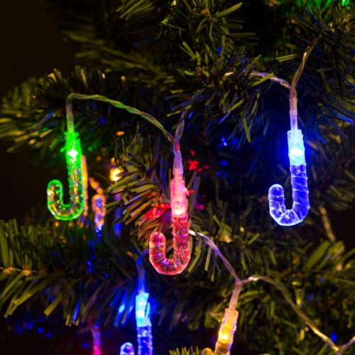 Nyalóka beltéri, elemes, LED-es fényfüzér (2 m, színes)