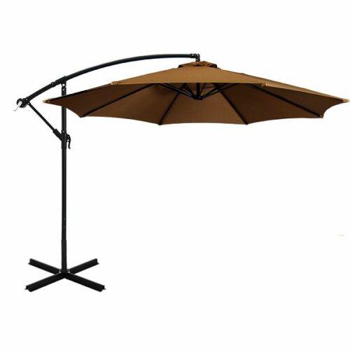 Függő napernyő fém talppal, UV védelemmel khaki
