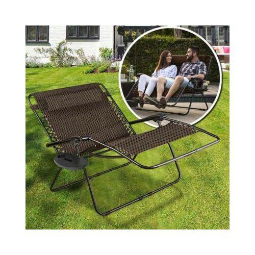 2 személyes zéró gravitáció kerti szék, 2 db ajándék pohár- és telefontartóval