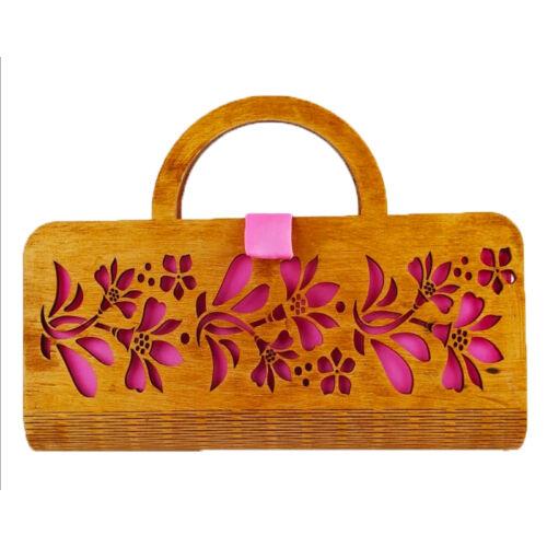 CASUAL női alkalmi táska fából, füllel (barna-rózsaszín) zárva