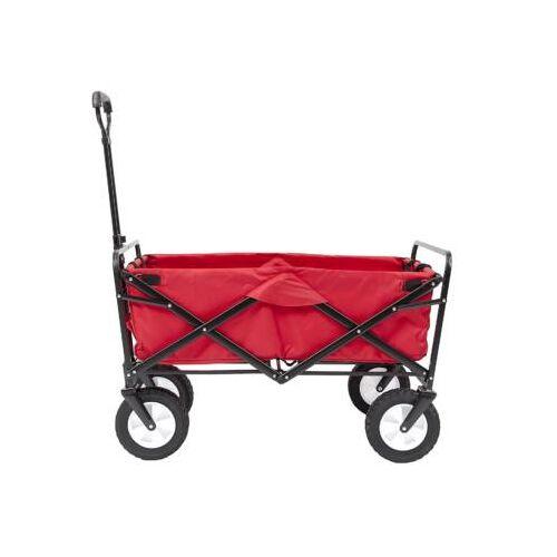 Összecsukható strandkocsi piros oldalról