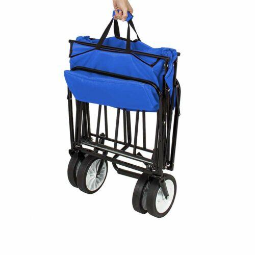 Összecsukható gurulós kocsi tetővel kék összecsukva