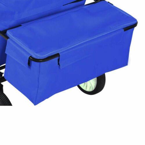 Összecsukható gurulós kocsi tetővel kék tároló