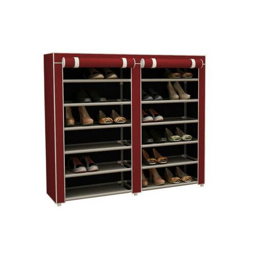 Mobil cipőtároló szekrény védő huzattal bordó használatban