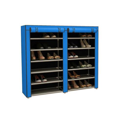 Mobil cipőtároló szekrény védő huzattal kék használatban