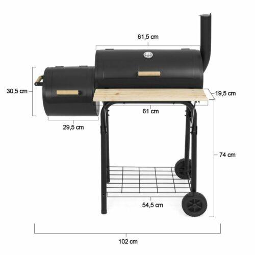 Faszenes BBQ grill és smoker (füstölő) 2in1 méretek