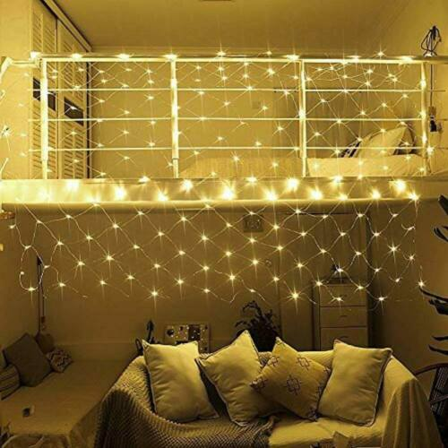 7 programos LED fényháló (1,85 x 0,85 m, meleg fehér)
