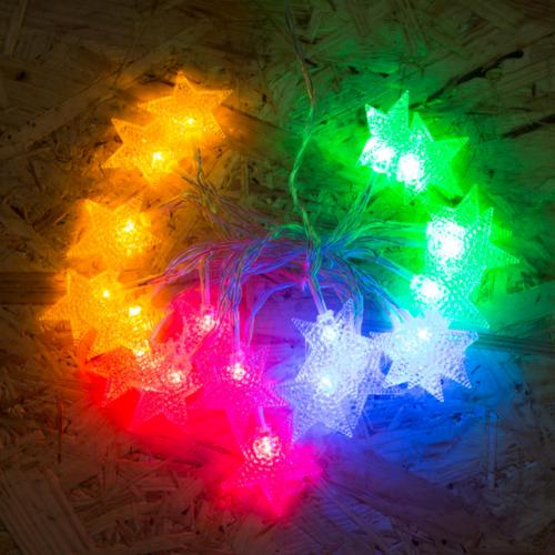 Csillag beltéri, elemes, LED-es fényfüzér (2 m, színes)
