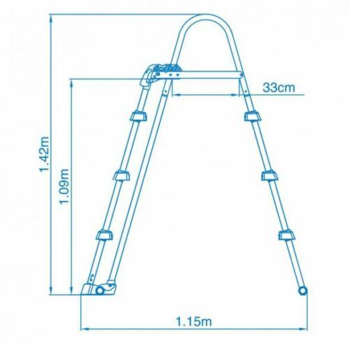 INTEX Biztonsági medence létra 3 fokos 91-107cm magas medencékhez méretei