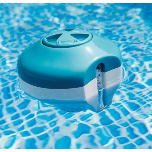 INTEX 2in1 úszó MINI vegyszer adagoló és hőmérő medencéhez használatban
