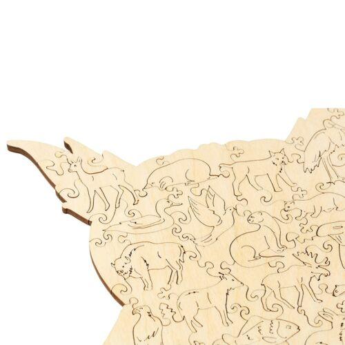 Mindentudó Fülesbagoly különleges fa puzzle (151 db-os, 14+) hátulja