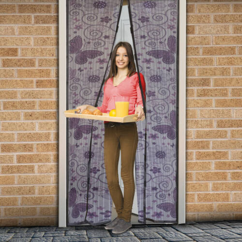 Mágneses szúnyogháló ajtóra (100×210 cm) lila pillangós