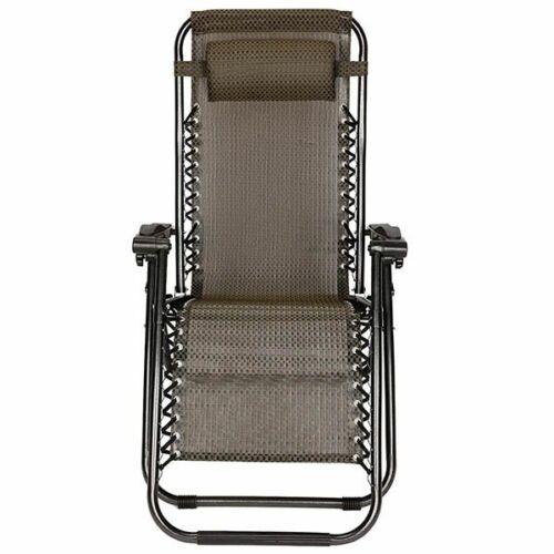 2 db zéró gravitáció kerti szék, ajándék pohár- és telefontartókkal barna
