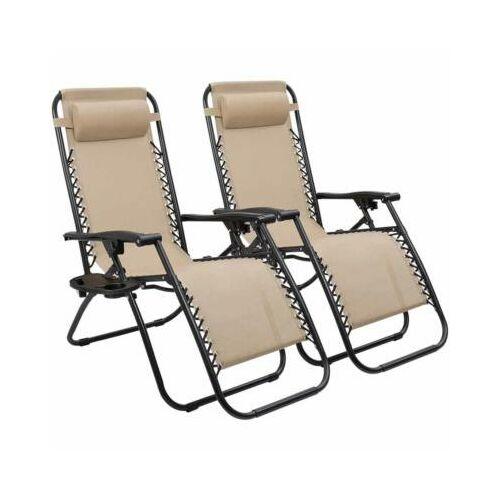 2 db zéró gravitáció kerti szék, ajándék pohár- és telefontartókkal bézs