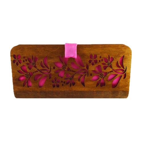 CASUAL női alkalmi táska fából (barna - rózsaszín) zárva