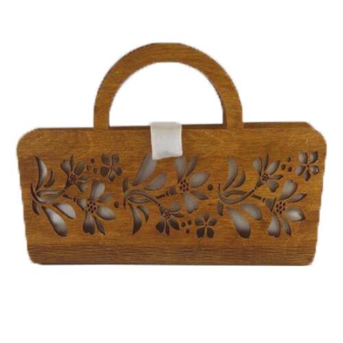 CASUAL női alkalmi táska fából, füllel (barna-fehér) zárva