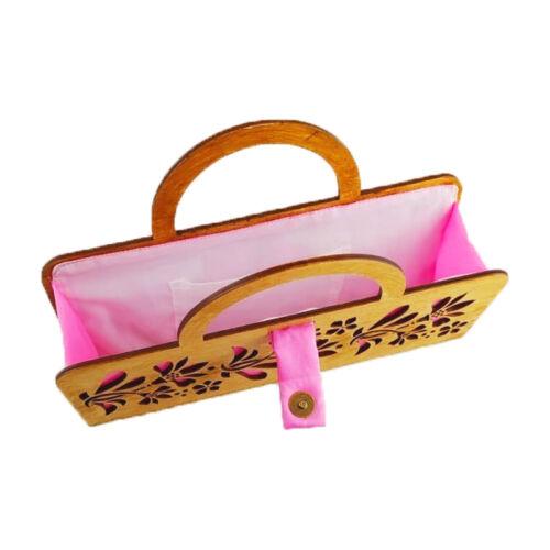 CASUAL női alkalmi táska fából, füllel (barna-rózsaszín) nyitva