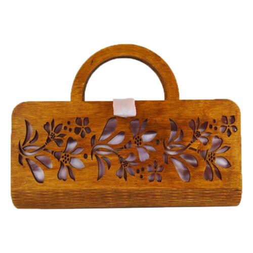CASUAL női alkalmi táska fából, füllel (barna-világos rózsaszín) zárva