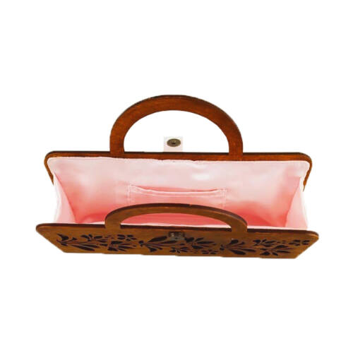 CASUAL női alkalmi táska fából, füllel (barna-világos rózsaszín) belseje
