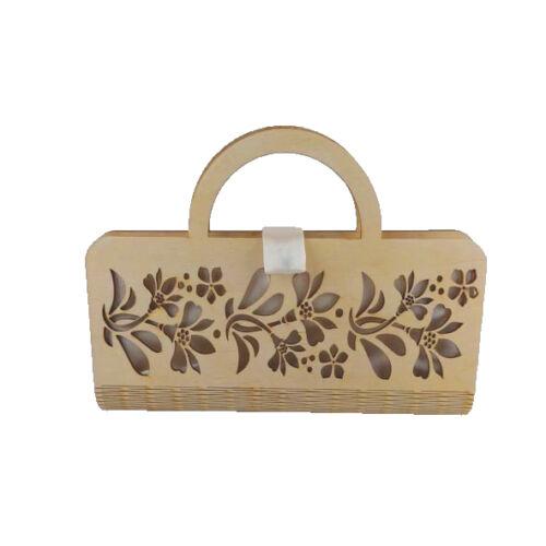 CASUAL női alkalmi táska fából, füllel (natúr-fehér) zárva