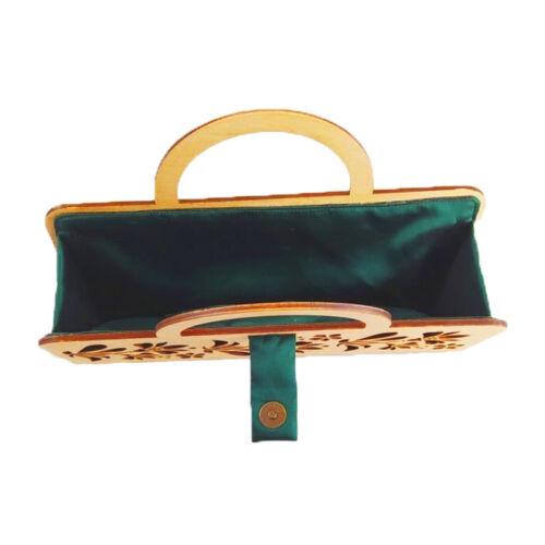 CASUAL női alkalmi táska fából, füllel (natúr-zöld) belseje