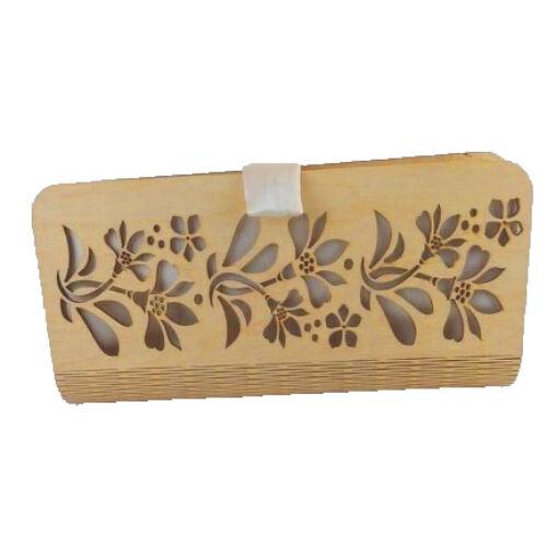 CASUAL női alkalmi táska fából (natúr-fehér) zárva