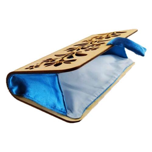 CASUAL női alkalmi táska fából (natúr-kék) nyitva