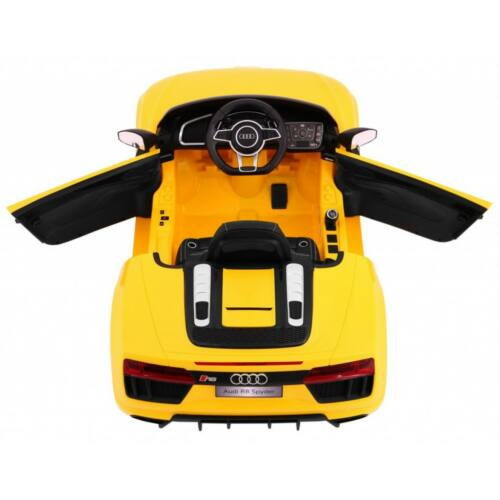 AUDI R8 Spyder elektromos kisautó gyerekeknek (távirányítóval, 1 személyes) sárga, belülről