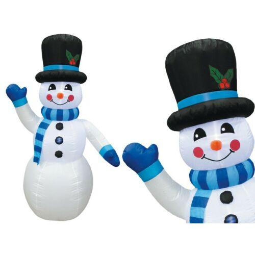 Téli dekorációnak felfújható és világító Hóember (180 cm) kék