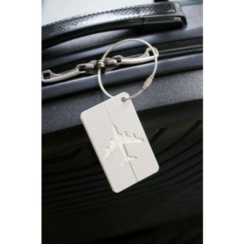 Elegáns, alumínium bőrönd címke