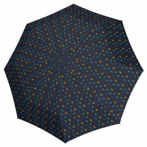 Derby kézi nyitású női esernyő (Hit Mini Highlight) kék-sárga nyitva