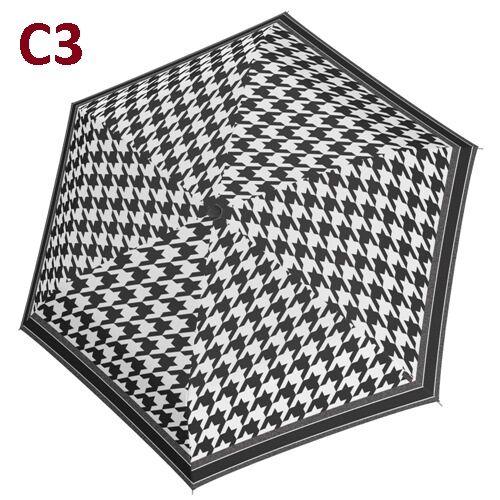 C3 -minta - Doppler kézi nyitású női esernyő (Fiber Havanna Black & White)