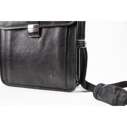 Rosme bőr férfi hátizsák és válltáska egyben fekete részlet