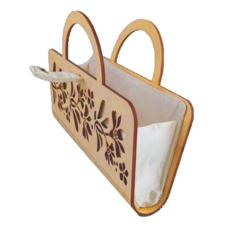 CASUAL női alkalmi táska fából, füllel (natúr-fehér) nyitva
