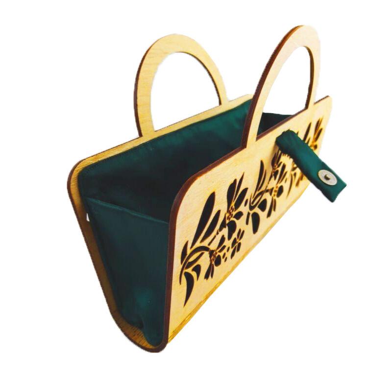 CASUAL női alkalmi táska fából, füllel (natúr-zöld) nyitva