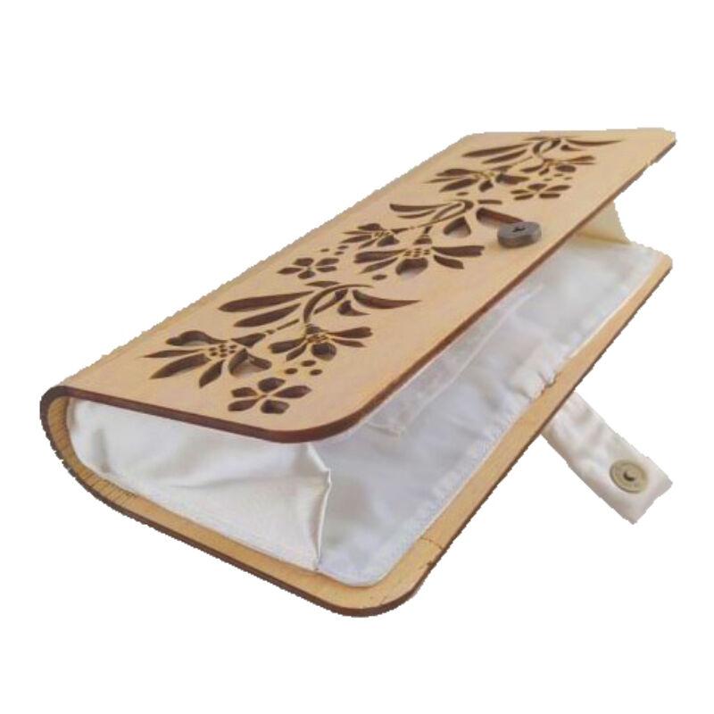CASUAL női alkalmi táska fából (natúr-fehér)