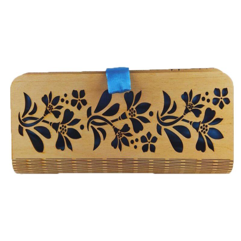 CASUAL női alkalmi táska fából (natúr-kék) zárva