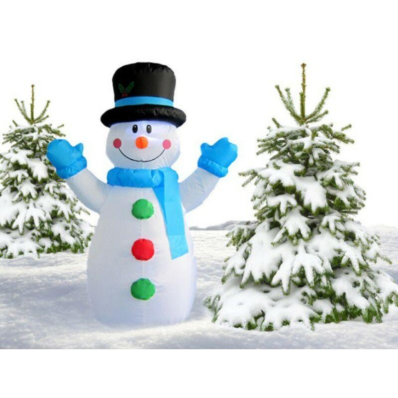 Téli dekorációnak felfújható és világító Hóember (120 cm) kék